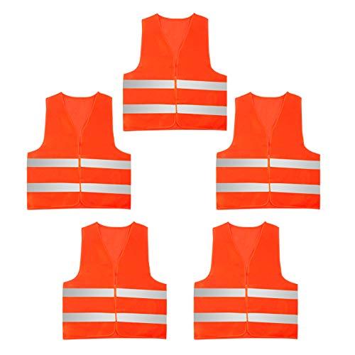 AIEOE Lot de 5 Gilet de Sécurité Réfléchissant Haute Visibilité Veste Gilet Fluorescent Adulte Gilet Fluo Travail Moto Course Construction Orange Gris,Taille unique,Orange-5 Pcs Orange Gris