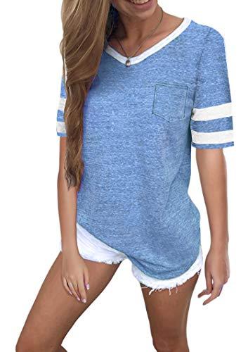 Ehpow Damen Kurzarm T-Shirt V-Ausschnitt Casual Sommer Lose Shirt Oversize Oberteile (Small, Himmelblau)