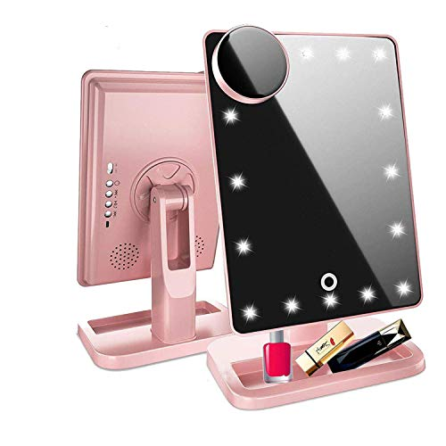 Hansong Vanity Makeup Mirror with Lights Bluetooth,Lighted Mirror with 20 LEDs, Touch Screen Wireless Audio Speaker,Detachable 10x Magnification,Rechargeable Power