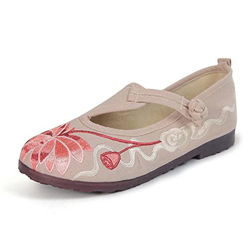 LGYKUMEG Chinesischer Stil Bestickte Frauen Schuhe Komfort Old Peking Schuhe  Flach Unten Casual Mode Sandalen Tanzschuhe Schuhe Beige 35 EU