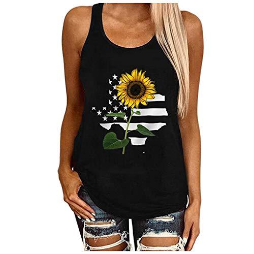 Damen Tank Top Sonnenblumen Drucken Trägershirts Ärmelloses Weste T-Shirt Rundausschnitt Athletic Top,Frauen Atmungsaktive Workout Sportkleidung Racerback Oberteile,Women Sunflower Print Tshirt