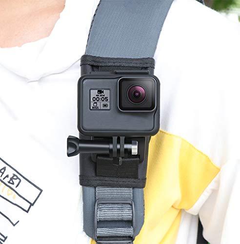 Lupholue Rucksack-Schultergurthalterung mit Mehrwinkeldrehung J Hakenschnalle, Klettverschlussgurt Kompatibel mit GoPro Hero (2018) GoPro Hero 7 6 5 4 3+ Sitzung, Xiaomi Yi, Osmo Pocket