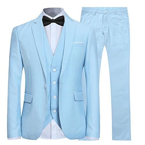 Anzug Herren Slim Fit 3 Teilig Anzüge Modern Herrenanzug 3-Teilig Sakko Hose Weste für Business Hochzeit Hellblau X-Large