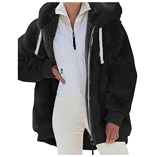 Pullover mit Kapuze Damen Teddy-Fleece Kapuzenpullover Fleece Hoodie Warm Kuschelpulli Flauschig Sweatshirt mit Fell Kuschelpullover