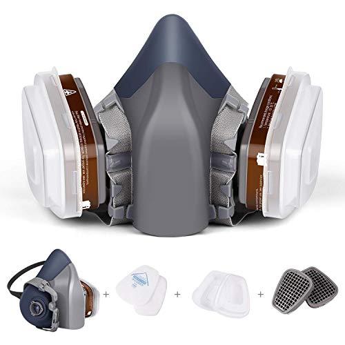 Atemschutzmaske Schutzstufe FFP2 mit Doppelfilter Patronen N95 Halbmaske zum Schutz der Augen vor Staub, Gasmaske Staubschutzmaske Organische Dämpfe, Chemikalien-Atemschutzmaske