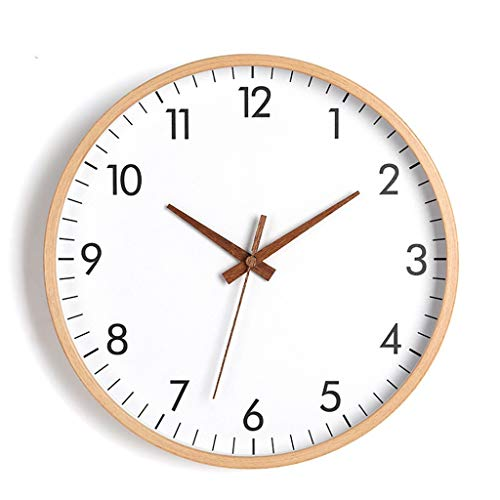 ZQQBRZXFT Cuarzo de Pared Silencioso Reloj De Pared De Madera Sin Tictac,Silencioso Digital Reloj con Pilas, Decorativos Sala De Estar,12 Pulgadas,40.8 Cm De DiáMetro