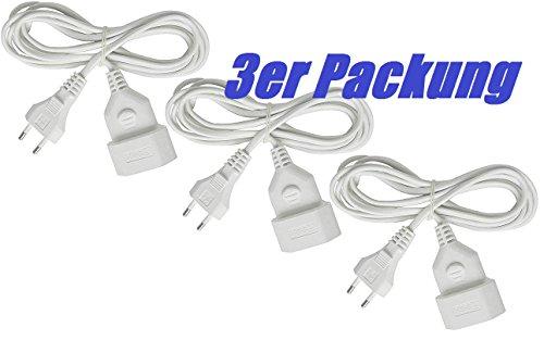 Brennenstuhl Kunstoff-Verlängerungskabel (für den Innenbereich, 3m Kabel, mit Euro-Stecker und Kupplung) weiß 3er Pack