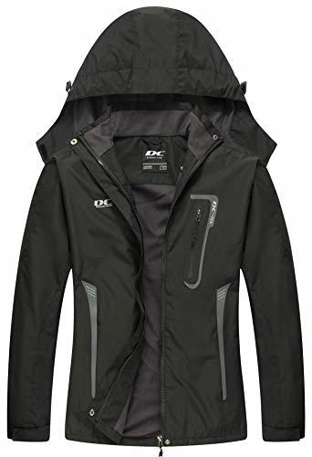 Diamond Candy Waterproof Rain Jacket Women Lightweight Outdoor Raincoat Hooded for Hiking Black XXL