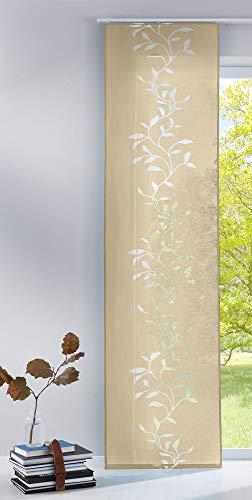 Gardinenbox Moderner Flächenvorhang Raumtrenner Schiebegardine Tendril aus hochwertigem Ausbrenner-Stoff mit Paneelwagen, 245x60 (HxB), Sand, 85611