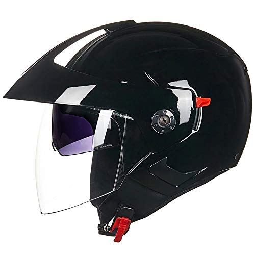 TBTBZXCV Open Face Motorcycle Helmet for Youth Men Women,3/4 Half Helmet Bright White Flip-Up Double Sun Visor Crash Jet-Helmet, for Mofa Motorbike Moped Cruiser Chopper Scooter