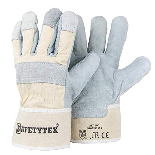 Leder Handschuhe Arbeitshandschuhe Profi Rindspalt Handschuhe mit Canvas Stulpe EN388 Robuster Handschuh Gr. 10,5 Menge wählbar (6)