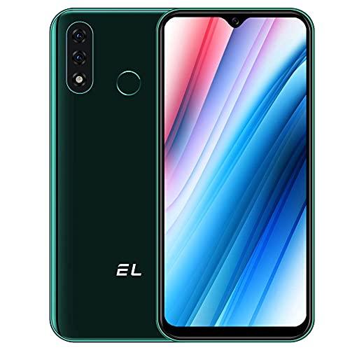 EL D60 Pro Smarthphone Libre, Android 10 4G Teléfono Móvil 3GB + 32GB (SD 128GB) Pantalla 6,1 Pulgadas, Batería 4000mAh, Cámara Triple 13MP Movil Libre Barato Dual SIM Face ID/Huella Dactilar- Verde