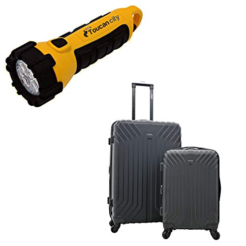 Toucan City LED Flashlight and WRANGLER Auburn Hills 2-Piece HARDSIDE Hardside Veal Rolling Luggage Set with Spinner Wheels WR-B6202-EX-001