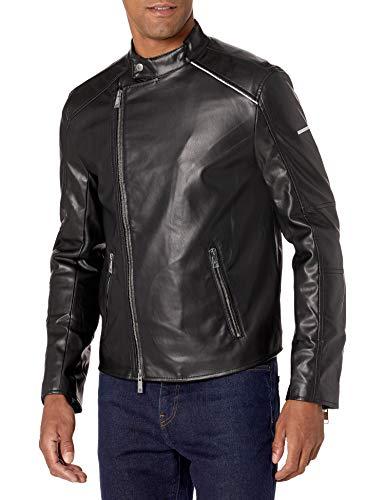 A|X Armani Exchange Men's Eco Leather Jacket with Assemetrical Zip, Black, S