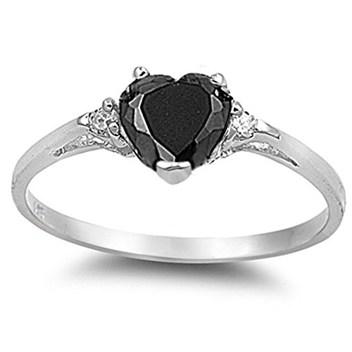 Oxford Diamond Co Simulated Black Onyx Heart & White Cubic Zirconia Ring Sz 8