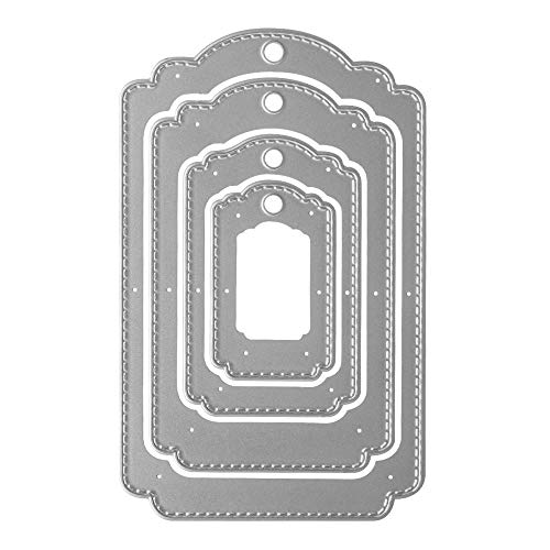 Metal Four Hanging Tags Cutting Dies,4Pcs/Set Label Tags Layering Die Cuts Embossing Stencils Template Mould for Card Scrapbooking and DIY Craft Album Paper Card Decor