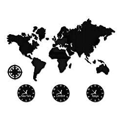 The Geeky Days World Map Large Wall Clock New York London Tokyo Personalized Time Zone Silent Non Ticking Wall Watch Office Geographic Wall Art Decor