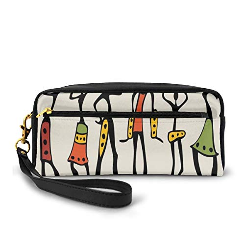 Pencil Case Pen Bag Pouch Stationary,African Group Clan Dancers Ethnic Characters in Sketchy Festival Hand Drawn Artwork,Small Makeup Bag Coin Purse