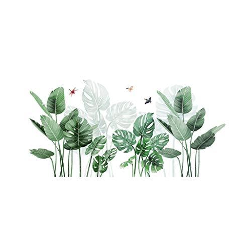 Deajing Stickers Pegatinas Infantiles Pared Etiquetas Adhesivas Vinilo Etiqueta de la Ventana Decal DIY Hojas de Plantas Tropicales Verde de Dibujos Creativo Pegatinas de Pared Decoración (A)