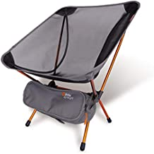 P&J Trading EyrieLight Outdoor Chair – Compact and Lightweight for Backpacking, Camping, Hiking, Beach, Festivals, Tailgating, Kids Sports, Backpacking. Grey mesh with Orange Legs. 1.89lbs