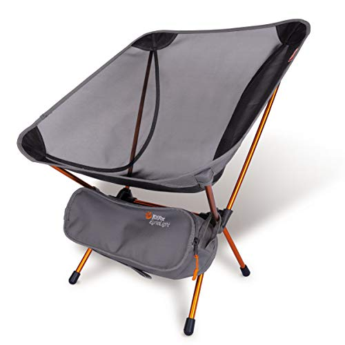 PampJ Trading EyrieLight Outdoor Chair – Compact and Lightweight for Backpacking Camping Hiking Beach Festivals Tailgating Kids Sports Backpacking Grey mesh with Orange Legs 189lbs