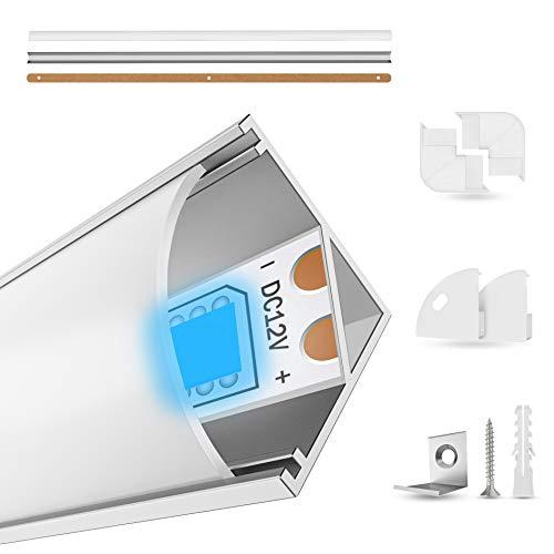 EDELHAND© LED Aluminium Profil 5 x 1m - LED Profil 45 Grad als Komplett-Set mit Milchglas LED Abdeckung für perfektes Licht - LED Alu Profile inkl Eckverbinder, Befestigungsclips und Bohrschablone