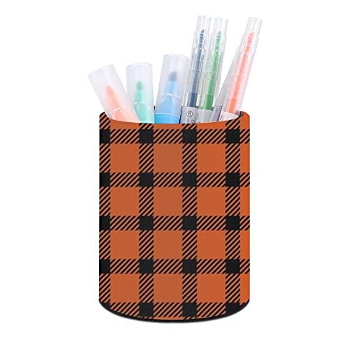 Titular de la pluma,Organizador de escritorio, titular de la pluma taza,Organizadores de escritorio de oficina Mini naranja y negro a cuadros