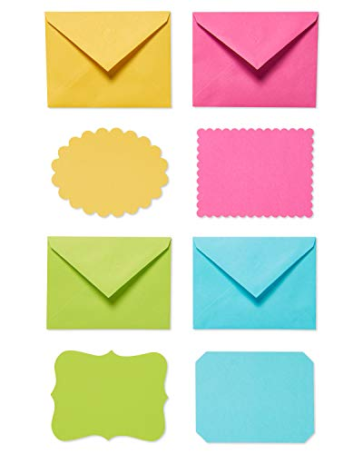 American Greetings Single Panel Blank Cards with Envelopes, Bright Colors, Patterns and Shapes (40-Count)