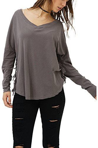 trueprodigy Casual Damen Marken Long Sleeve einfarbig Basic Oberteil Cool Stylisch V-Ausschnitt Langarm Slim Fit Langarmshirt für Frauen, Größe:S, Farben:Anthrazite