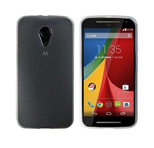 Luxburg® Glaze Funda de Silicon para Motorola Nuevo Moto G 2 en Color Blanco Perla/Blanco