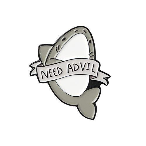 Help me !Ik ben erg moe Depressieve Sharks Thema Leuke Grijze Fish Hard Enamel Pins Rugzak Denim badge For Kids Gifts (Metal color : Never Advil)