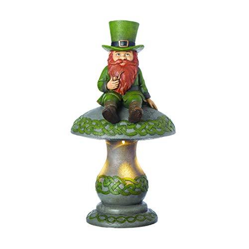 Roman Garden - LED Leprechaun on Mushroom Garden Statue, 16.75' H, Irish Collection, Resin and Stone, Decorative, Garden Gift, Home Outdoor Decor, Durable, Long Lasting