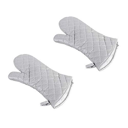 Voarge Silberbeschichtete Baumwollgewebe Hitzebeständig Ofenhandschuhe, Haushalt Bäckerei Hitzebeständigkeit Mikrowelle Backofen Handschuhe