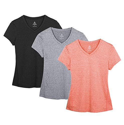 icyzone Damen Sport Fitness T-Shirt Kurzarm V-Ausschnitt Laufshirt Shortsleeve Yoga Top 3er Pack (XL, Black/Granite/Peach)