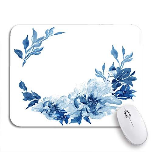 MIGAGA Gaming-Mauspad,Blumenstrauß Clip Aquarell Blumenarrangement Kranz Kobaltblau Blumen,Rutschfest Verschleißfestes Und Haltbares Gummi,Mousepad Für Bürocomputer,9.5