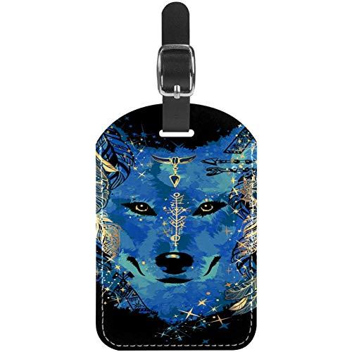 Etiquetas para equipaje con diseño de cara de lobo con atrapasueños, plumas...