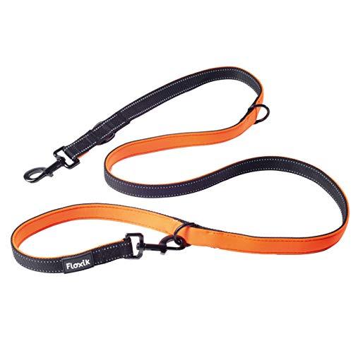 Floxik Hundeführleine | Premium Führleine für Hunde | mehrfach verstellbare, reflektierende Hundeleine - schwarz/orange