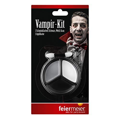 feiermeier ® Vampir-Schmink Set Best. aus 3 Farben GRAU, SCHWARZ und Weiss & Applikator für Fasching, Halloween