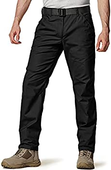CQR Men s Ripstop Work Pants Water Repellent Tactical Pants Outdoor Utility Operator EDC Straight/Cargo Pants Utility Straight twp301  - Black 30W x 30L