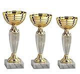 Hole Gadget S.r.l Tris Coppe e Trofei Sportivi 26, 25 e 24 cm Personalizzati con Targhetta Personalizzata da Calcio e Tutti Gli Sport