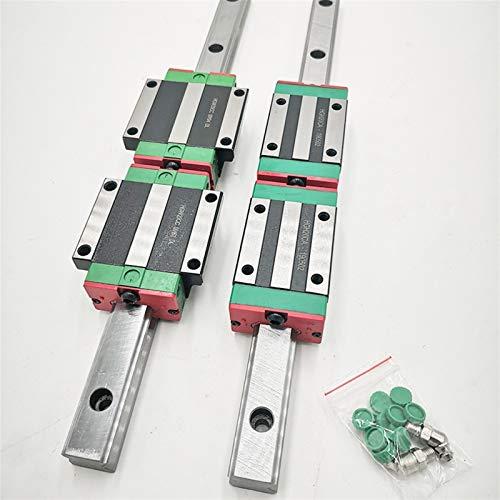 XKC-watches HGR25 Guía Lineal de 25 mm 2pc Rail de guía Lineal Cualquier Longitud + 4pc Carro Lineal HGH25CA o HGW25CC Piezas CNC (Color : HGW25CC, Guide Length : 550mm)