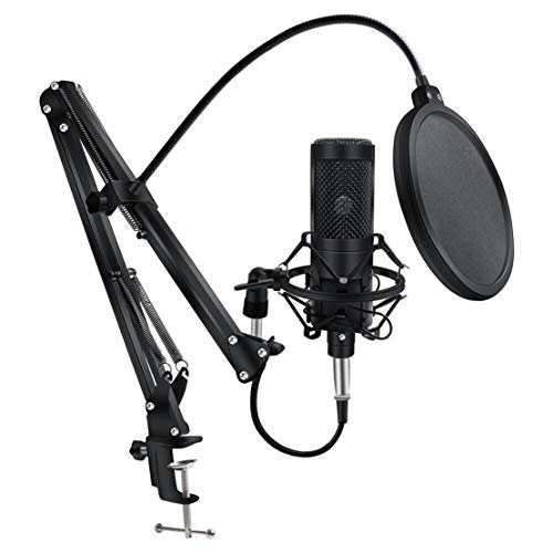 AKT Condenser Microphone for PC Computer Professional Microphone with Stand Mic Recording Chating Studio Microfone