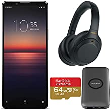 Sony Xperia 1 Mark II Unlocked Smartphone with Sony WH-1000XM4 Wireless Noise Canceling Headphones (Black), Wireless Charging Station, and 64GB Extreme microSD Bundle (4 Items)