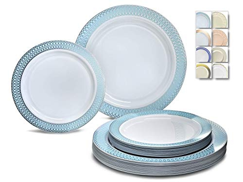 """ OCCASIONS"" 120 Plates Pack,(60 Guests) Premium Premium Wedding Party Disposable Plastic Plates Set -60 x 10'' Dinner + 60 x 7.5'' Salad/Dessert (Venice Blue and Silver)"