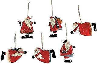 Metal Tin Santa Claus Christmas Ornaments - 12 Piece Pack