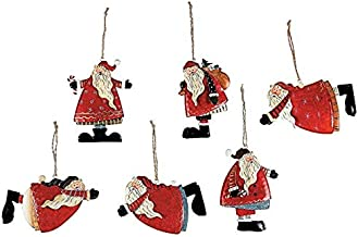 Metal Tin Santa Claus Christmas Ornaments - 12 Piece Pack