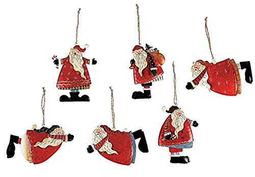 Fun Express Tin Santa Christmas Ornaments | 1-Pack, 12 Total Count | Great for Holiday Celebrations, Themed Parties, and Home Decoration