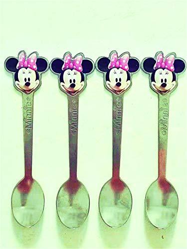 4pcs Mickey Mouse Cuchara Niños Vajilla Disney Minnie Vajilla Acero Inoxidable Cubiertos Niños Exclusiva Dibujos Animados