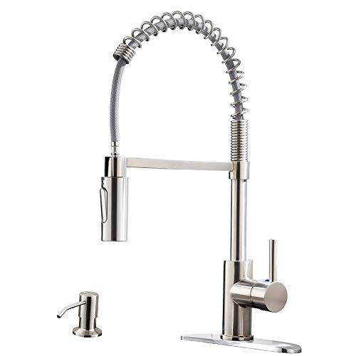 APPASO Commercial Kitchen Faucet Pull Down Sprayer with Soap Dispenser - Stainless Steel Brushed Nickel High Arc Tall Modern Single Handle Spring Kitchen Sink Faucet with Pull Out Spray