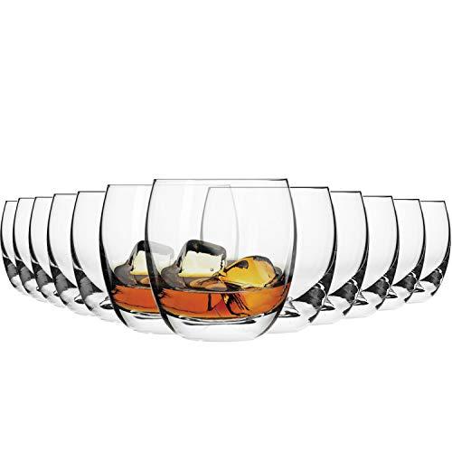 Krosno Whisky-Gläser | Set von 12 | 300 ML | Elite Kollektion | Perfekt für zu Hause, Restaurants und Partys | Spülmaschinenfest und Mikrowellengeeignet